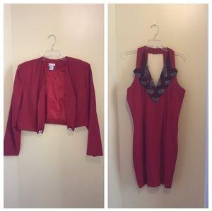 Boba Red Sequin Accent Dress Set Women Size 16
